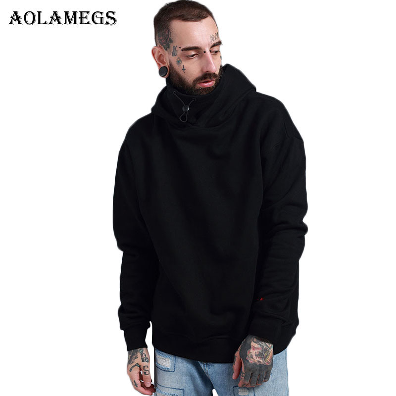 Aolamegs Hoodies Men Solid Thick Hood Pullover High Street Cotton Fashion Hip Hop Stand Collar Streetwear Hoodie Autumn Winter