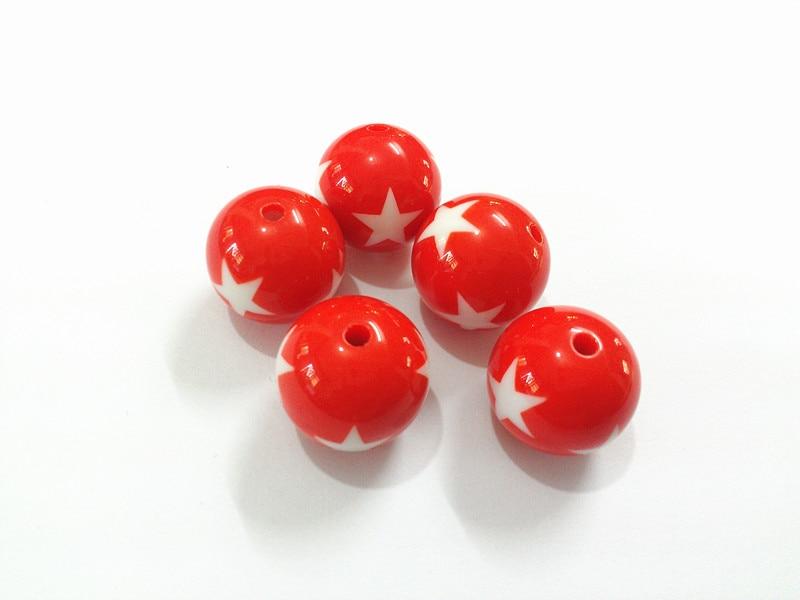 (Escolha o tamanho primeiro) 12mm/16mm/20mm sólido acrílico vermelho com grânulos brancos da estrela