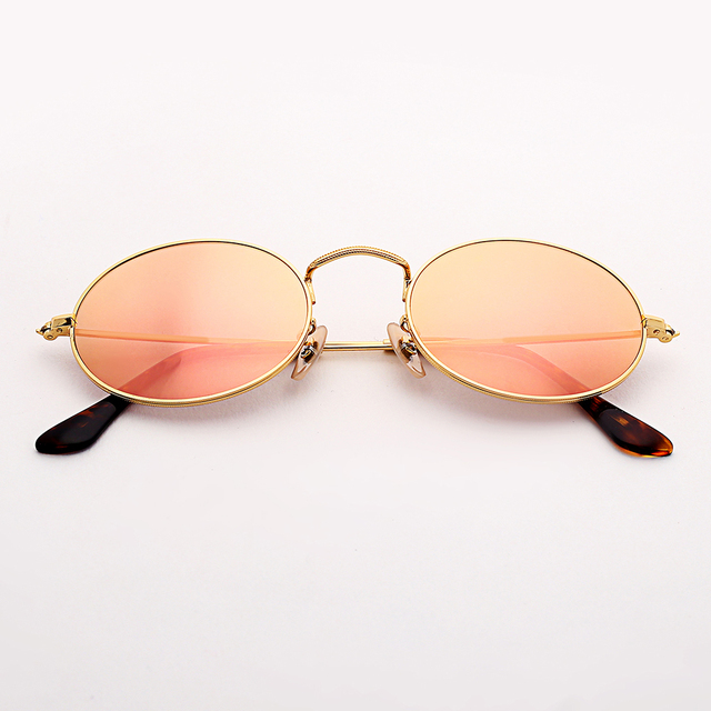 2520abdf4 Bolo.ban 3547 oval flat lens sunglasses women 51mm glass lens metal frame mirror  sun