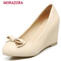 MORAZORA Iki tip yüksek topuk sığ wedges ayakkabı büyük boy 32-43 kadın tatlı katı papyon parti ayakkabı pompalar pu