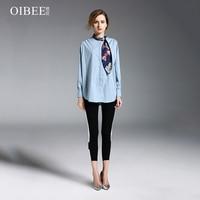 Длинные рукава синяя рубашка женщин плюс размер рубашки женские ruchedcrop Топ женский 2018 весна осень Свободная блузка