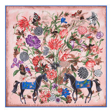 POBING Luxury Brand 100%Twill Silk Scarf Woman Square Scarves Wraps Flower Horse Print Silk Foulard Female Large Hijab 130CM