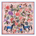 2016New Arrival Luxury Brand 100%Twill Silk Woman Scarf Square Scarf Flower With Horse Print Silk Scarf&Wraps Hijab Female Scarf