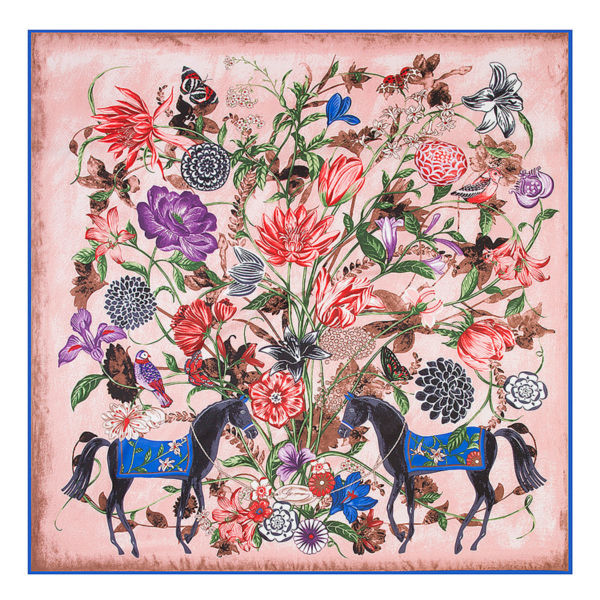 POBING Luxury Brand 100%Twill Silk Scarf Woman Square Scarves Wraps Flower Horse Print Silk Foulard Female Large Hijab 130CM