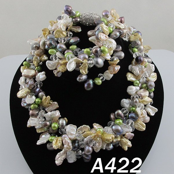 New Free Shipping A422# AA 8-11MM Mix Color Natural Shaper Fresh Water Pearls Necklace Bracelet And Earring Fashion Set JewellerNew Free Shipping A422# AA 8-11MM Mix Color Natural Shaper Fresh Water Pearls Necklace Bracelet And Earring Fashion Set Jeweller
