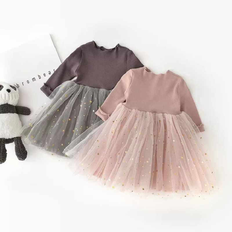 Spring autumn Baby dress for Girls Princess wear Long sleeve Knit Dress for  birthday party 89808b559c7a