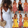 Fashion Strap Backless Women Summer Dress Pleated Bright yellow V Neck  female Streetwear casual white lace dress Beach Vestidos 2