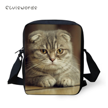 ELVISWORDS Women Messenger Bags Little Cute Scotland Fold Cats Pattern Girls Flaps Cross Body Cartoon Mini Purses