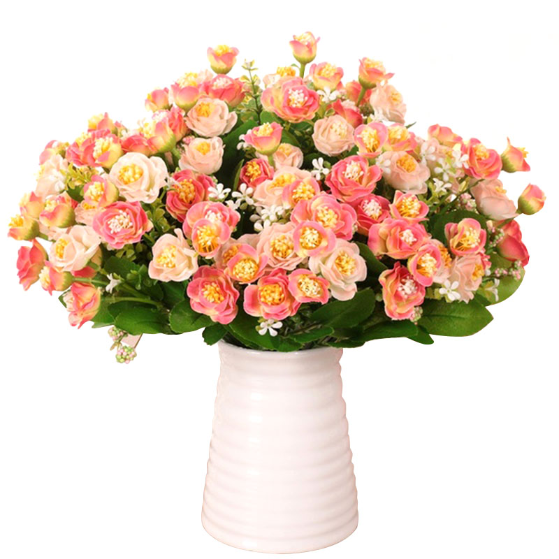 New Orange 15 Pcs 1bouquet Beautiful Artificial Rose Silk Flower Home Office Hotel Desk