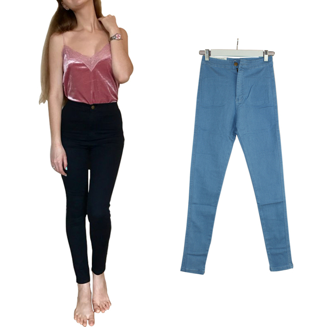 2017 High Waist Jeans For Women Elastic Skinny Jeans Woman Pencil Denim Black Jeans Female Pants Calca Feminina Jeans Femme Plus