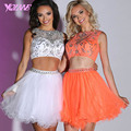 Sexy White Two Pieces Short Mini Homecoming Dresses Ball Gown Tulle Crystals Beaded Party Dress
