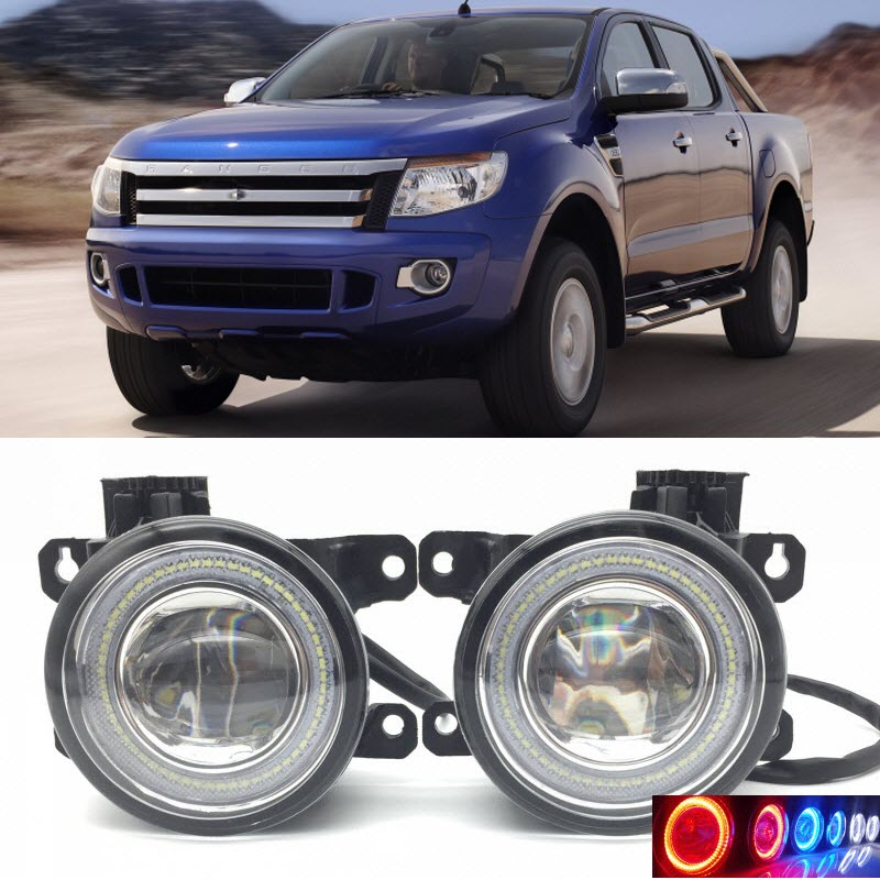 Car Styling for Ford Ranger 2012 2013 2014 2015 2 in 1 LED Angel Eyes DRL Daytime Running Lights Cut-Line Lens Fog Lights car styling 2 in 1 led angel eyes drl daytime running lights cut line lens fog lamp for land rover freelander lr2 2007 2014