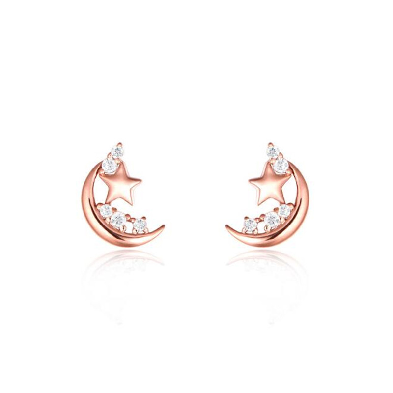 купить 2018 100% 18K Gold Wonderful Night Moon & Stars Stud Earrings For Women AU750 Jewelry Gift Brincos New Hot по цене 6057.9 рублей