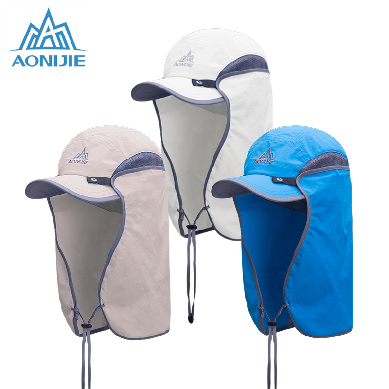 Unisex Fishing Hat Sun Visor Cap Hat Outdoor UPF 50 Sun Protection with Removable Ear Neck Flap Cover for Hiking in Hiking Caps from Sports Entertainment