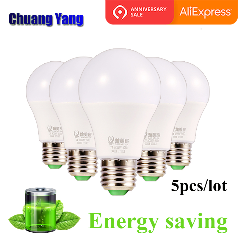 5PCS/LOT 110V 220V Led Bulb E27 3W 5W 7W 9W 12W 15W 18W Led Llight Bulb Lampada Bombillas Led Lamp For Home Super Bright