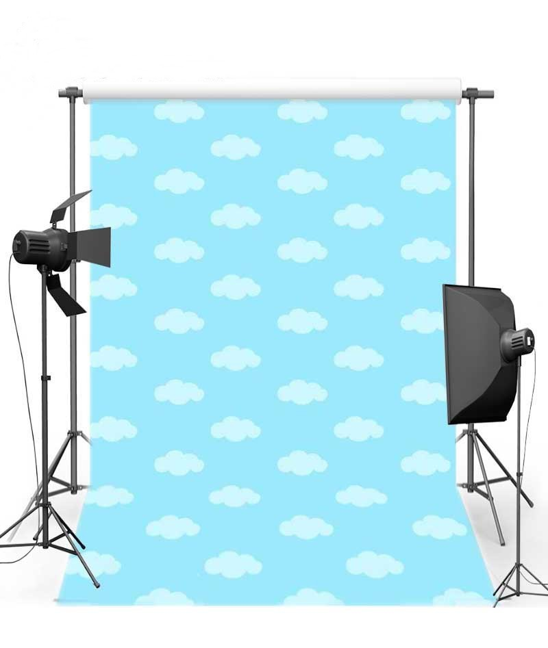 Blue Sky And White Clouds Comic Cartoon Backgrounds for sale Vinyl cloth High quality Computer printed newborn baby backdrops
