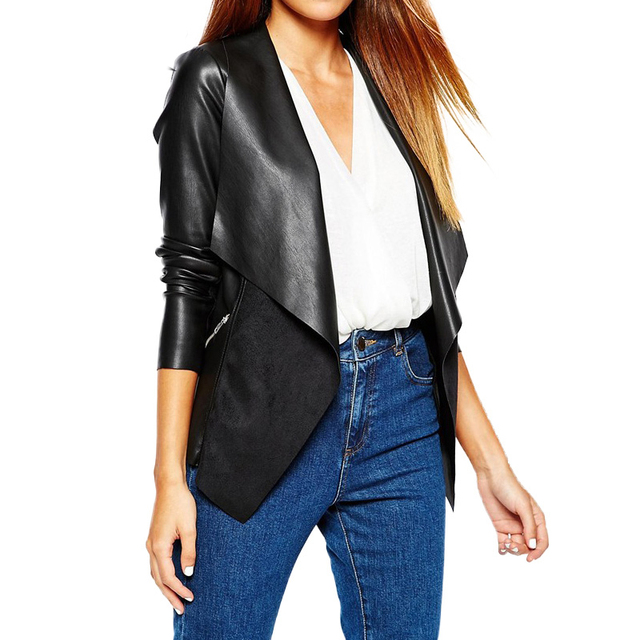 Women Clothing Spring Faux Leather Jackets Women 2017 Black Plus Size  Casual Women Leather Coat Winter Tops eca055028661