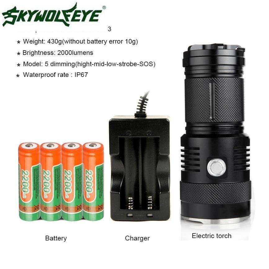 ФОТО FB 4 Shining Hot Selling Fast ShippingM6 Bright 2000 Lumens Rechargeable Flashlight , 300 Meters Long Lighting , Using 3*CREE U2