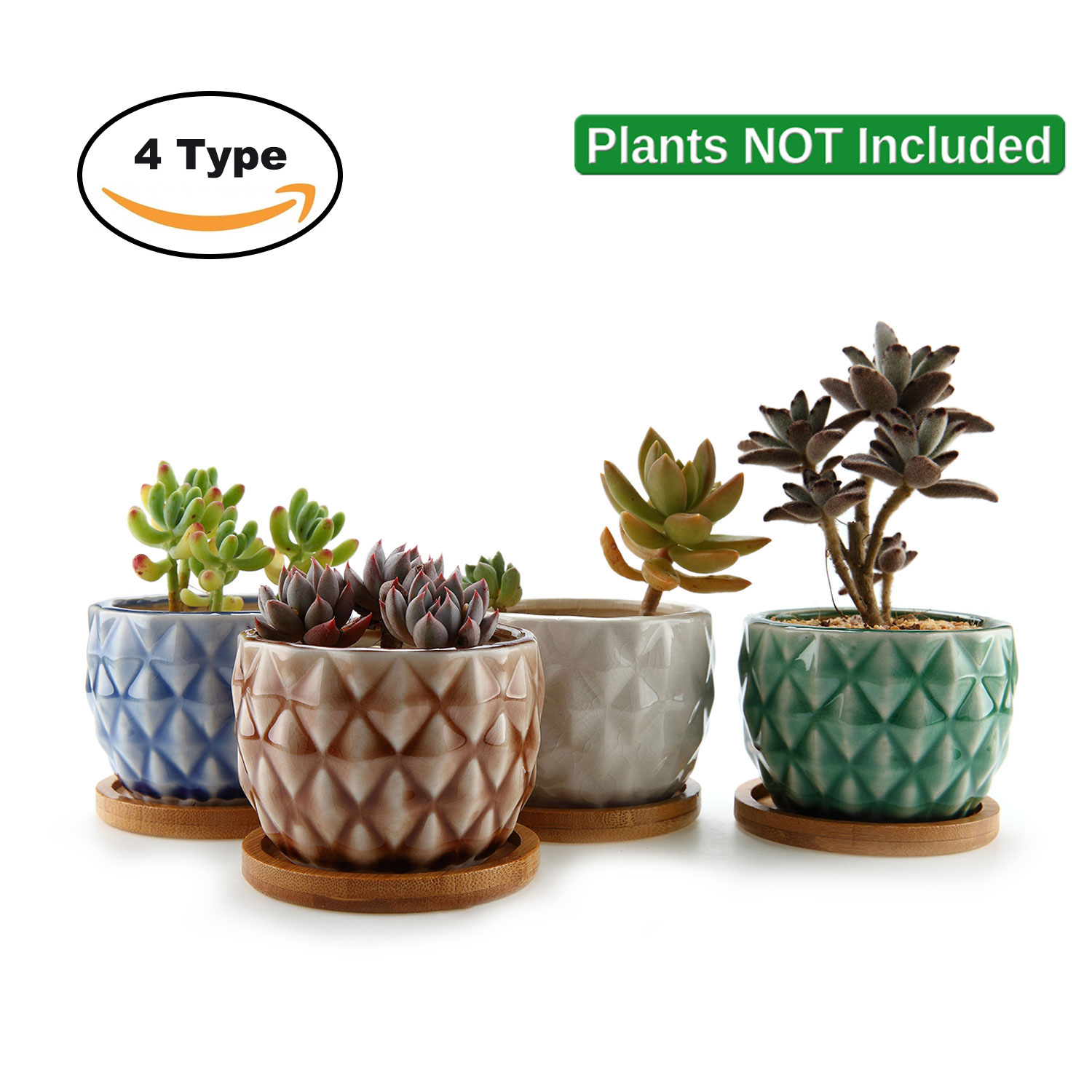 "3.25"" Ceramic Pineapple Flowerpot For Cactus Succulent Planter Planter Pot Flower Pots With Cheap Bamboo Tray Garden Decoration"