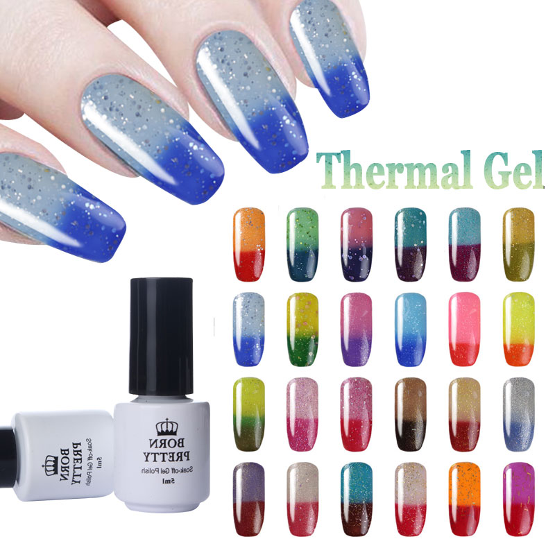 BORN PRETTY 5ml Glitter Shimmer Temperature Color Changing Nail Polish Thermal Soak Off UV Gel Polish UV Lamp To Dry