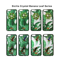 Luxury Crystal Diamond Sicily Banana Leaf Leather Phone Cover Coque For IPhone 6 Case 6s 7