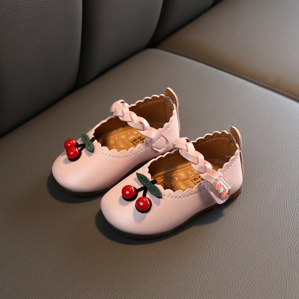 party shoes for Toddler Infant Kids Baby Girls Cherry Leather Single Princess Shoes Beige pink baby chaussure enfant fille(China)