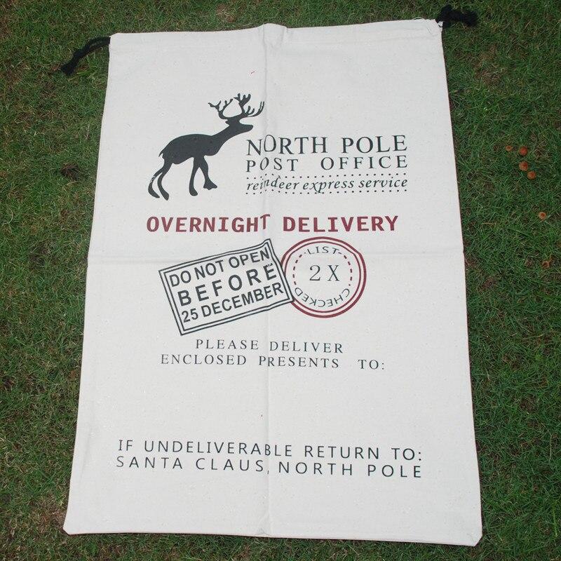 Wholesale Canvas Blanks Santa Claus Drawstring Bag Reindeer Claus Christmas Gifts Sack Red Santa Sacks DOM