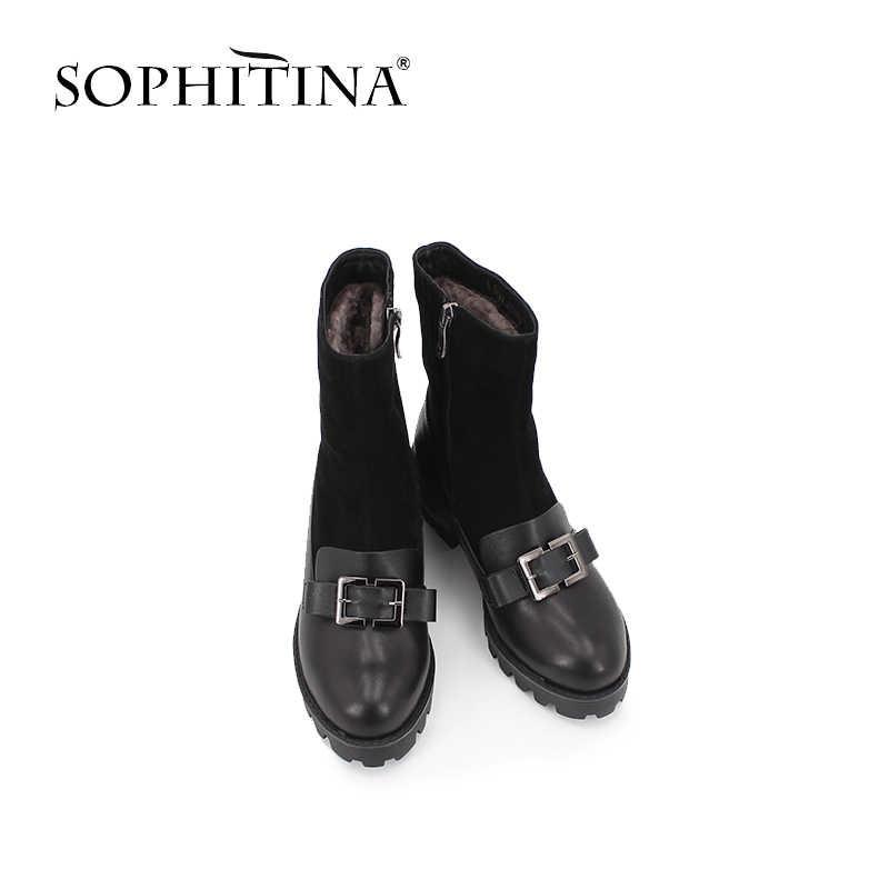SOPHITINA sıcak yün kürk orta buzağı çizmeler kare toka yuvarlak ayak rahat kalın topuk kadın botları rahat ofis kadın ayakkabı B43