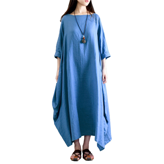f1f6a7690c2 Plus Size Cotton Linen Dress For Women 3xl 4xl 5xl Loose Baggy Vintage  Solid Boho Maxi Shirt Dress Pocket Long Sleeve Gown Robe