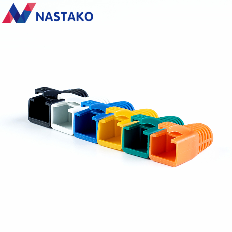 NASTAKO 20/50/100PCS Colorful Cat6 RJ45 Connector Caps Cat6A Plugs Boots Network Ethernet Cable Dust Cap RJ45 Connector Covers