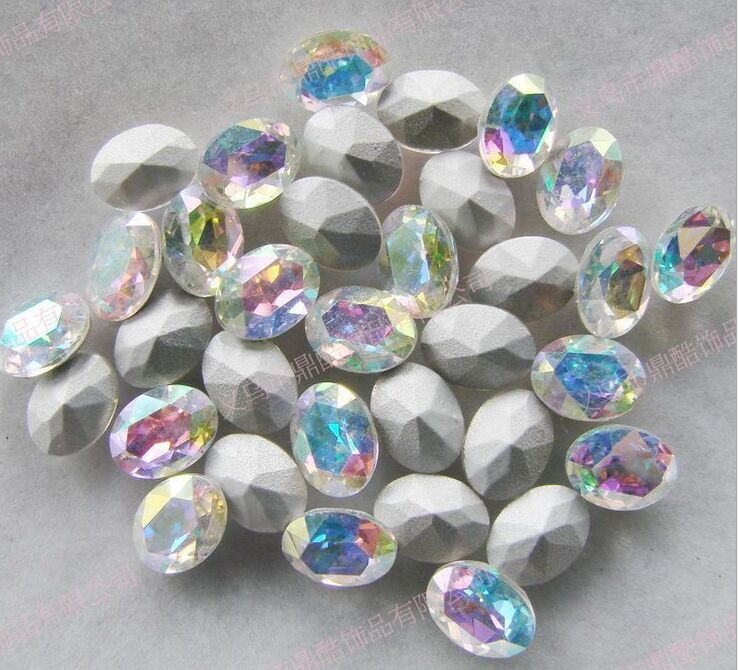 Crystal AB Color Pointback Oval Glass Crystal Fancy Stone 8 10mm 10 14mm 13 18mm 18