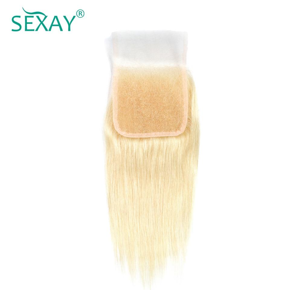 Sexay 613 закрытие человеческих волос с ребенком волос предварительно Цветной бразильский Прямо человеческих волос Bleach Blonde Волосы Remy Кружева з...
