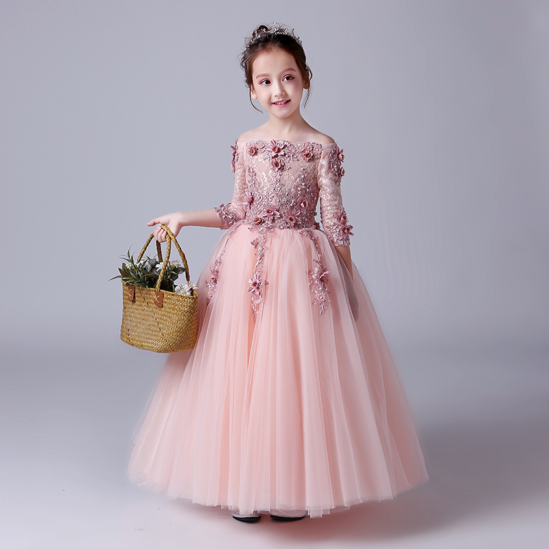 Beading Princess Dress Flower Girls Dresses Wedding Ball Gown Shoulderless Kids Pageant Dress for Party Birthday Prom Dress D125 princess dress for girls party prom princess pageant dress dress girls