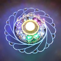ICOCO Modern Acrylic Crystal Colorful LED Ceiling Light Simple Round Romantic Lamp Bedroom Living Room Home