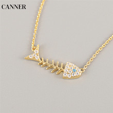 Canner Fish Bone Pendant Necklace Choker Collier 925 Sterling Silver Gold Chain Crystal Women Statement Jewelry Gift