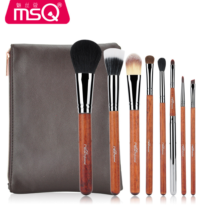 8 pcs Sof Taklon hair makeup brush set High Quality Professional Makeup Brushes Synthetic kabuki brush With Leather Pouch цены
