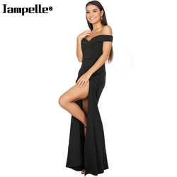 Women Sexy Off Shoulder Sleeveless Female Dress Side High Slit Casual Solid Color Bodycon Elegant Maxi Party Dress Sales 2