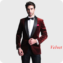 Latest Designs Burgundy Velvet Men Suits for Wedding Suit Groom Tuxedo 2Piece Smoking Jacket Slim Fit Man Blazers Prom Party