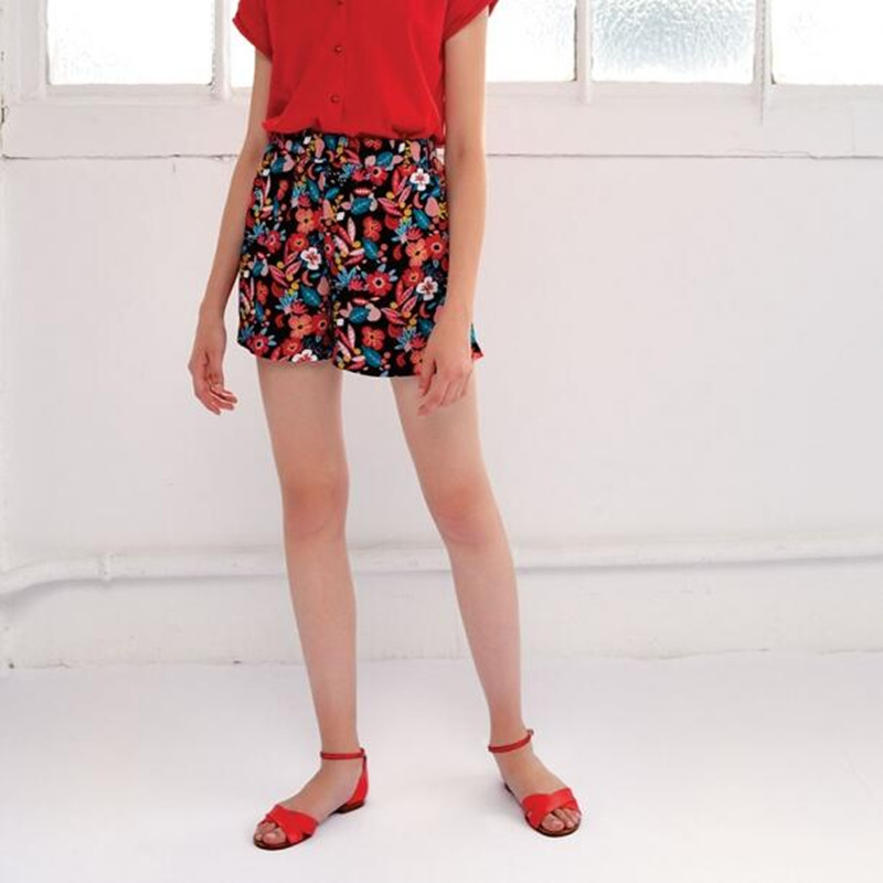 Floral print elasticated high waist viscose sissi positano women sweet casual short with pocket