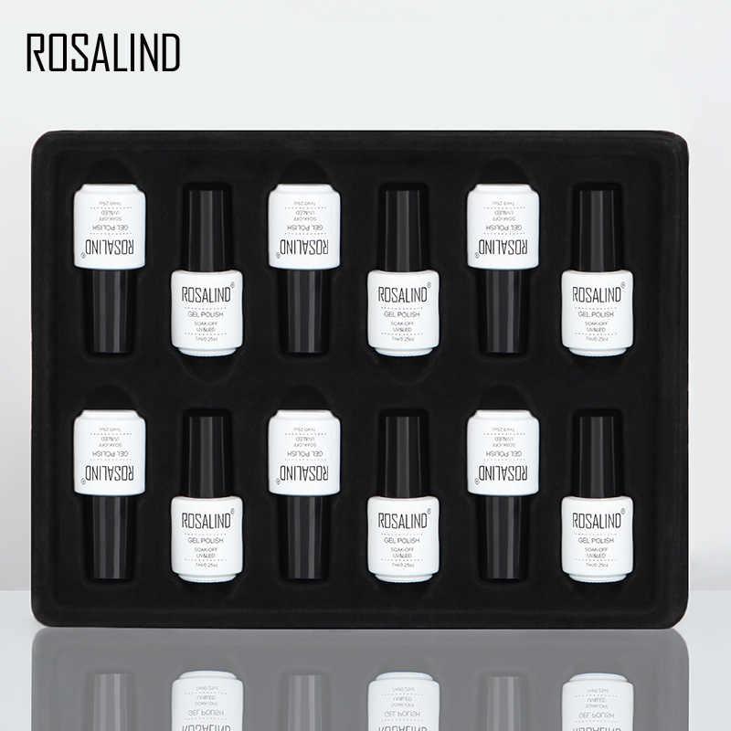 ROSALIND Gel barniz 12 unids/lote conjunto para manicura 7 ML acrílico uñas Semi permanente UV remoje botella blanca botella de gel de Arte de uñas