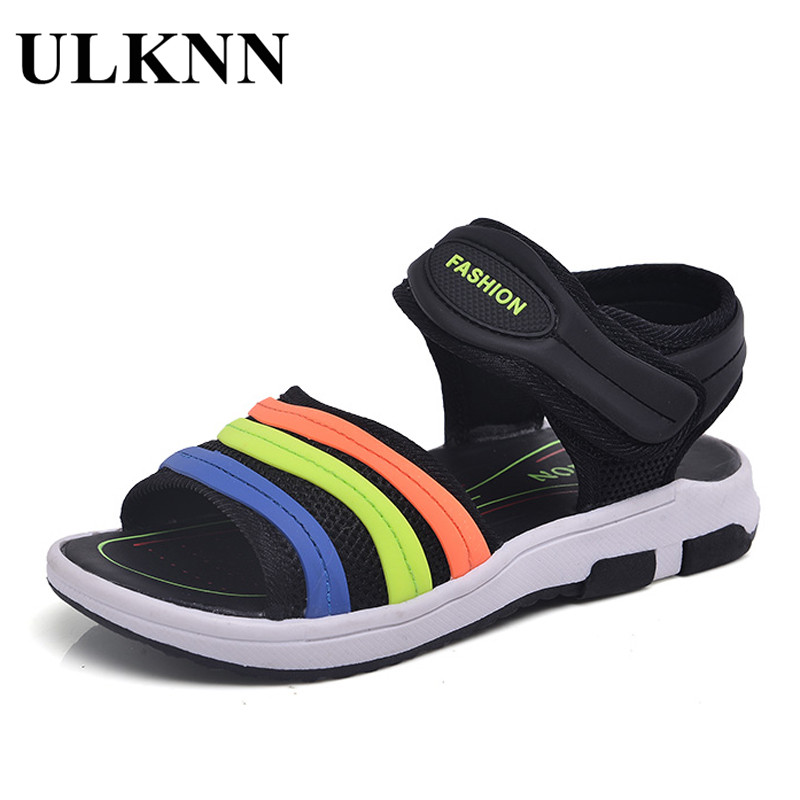 ULKNN Boys Sandals For Beach TPR Anti-slippery School Kids Shoes Flat with Cut-outs Summer Children Sandals Quick-dry Mesh
