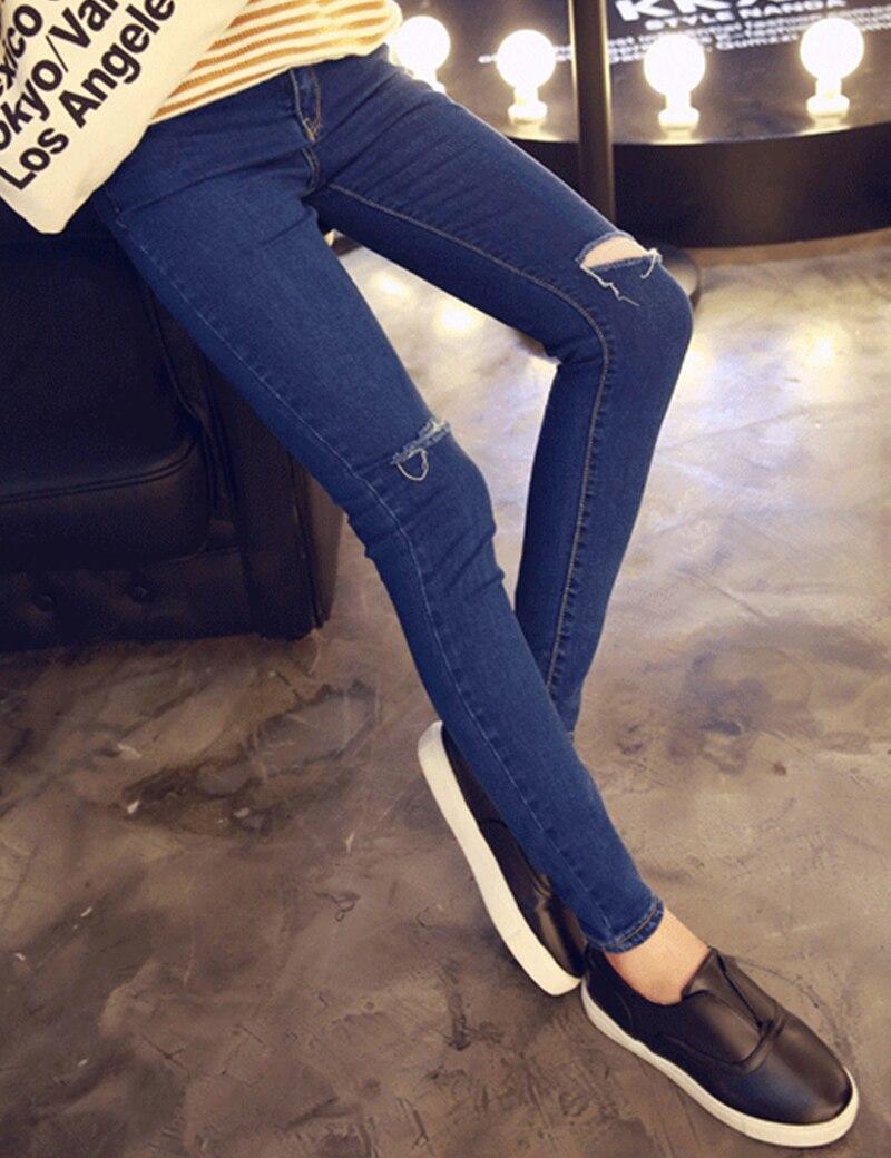 3f0e1d0a4b1 New Fashion Holes Pencil Skinny Pants High Waist Ripped Jeans Women ...
