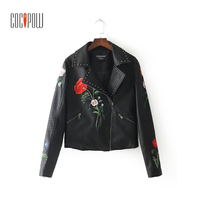 2017 Floral Embroridery PU Leather Jackets Studded Vintage Rivet Long Sleeve Zipper Pockets Outerwear Streetwear Tops
