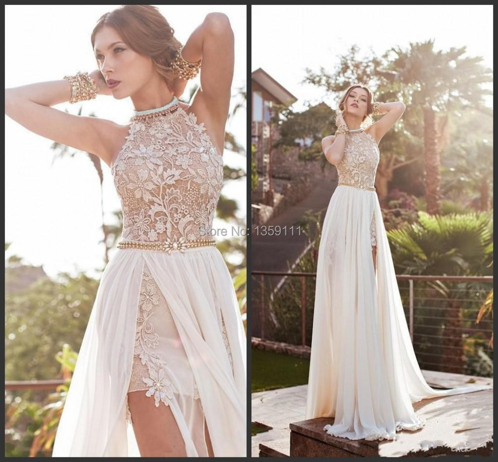2014 Lace Chiffon Prom Dresses Halter Beaded Crystals Side Slit Backless 2015 Evening Gowns
