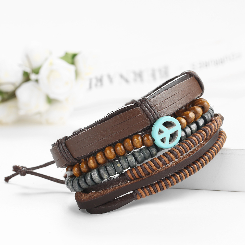 Enacolor Trendy Hip-hop Peace Logo Bracelet Beaded Weave Set Leather Braclet for Male Birthday Gifts Adjust Braslet