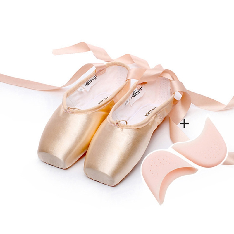 New Ballet Pointe Shoes for Women Ladies Professional Latin Ballet Shoes With Ribbons Ballet Dancing Shoes with Toe Pad