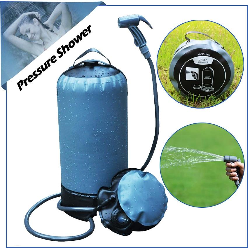 Nyomásos zuhany hordozható napelemes tusoló 11 liter | Önálló - Kemping és túrázás