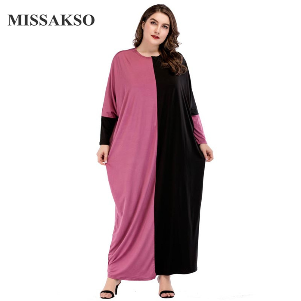 Missakso Oversized Color Block Tee Dress Women Autumn Winter Ladies Round Neck Batwing Sleeve Casual Long Maxi Dress
