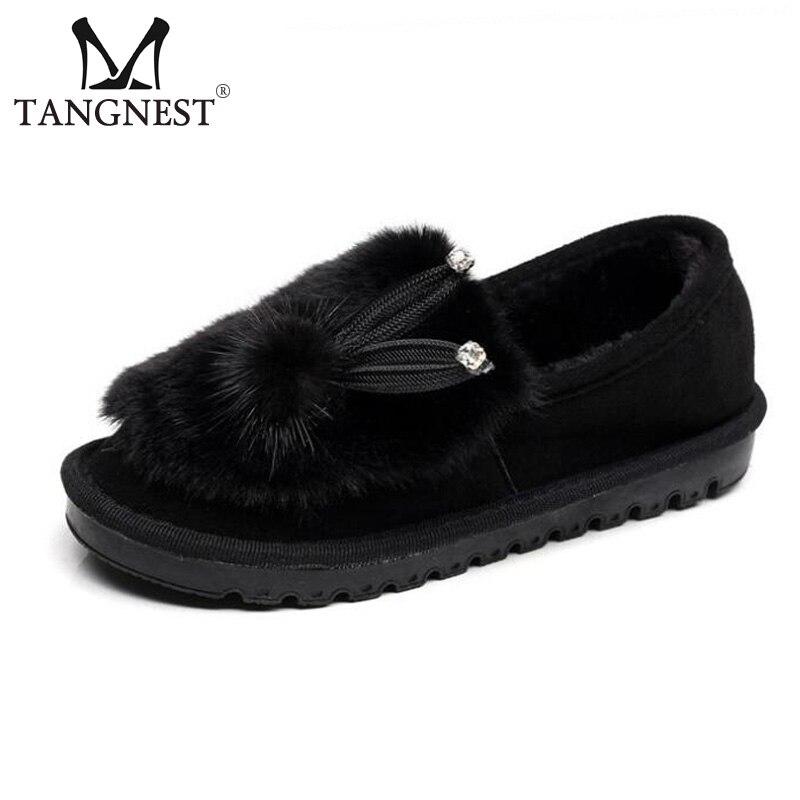 Tangnest Women NEW 2018 Snow Boots Cute Rabbit Pattern Platform Flats Winter  Soft Plush Slip-on Outside Cotton Shoes XWM219 soft plush big feet pattern winter slippers