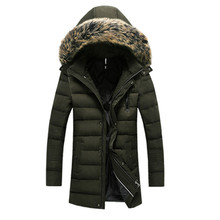 2016 зима прибытие новый стиль мужская повседневная мода с толстыми хлопка-проложенный одежды куртка человек пальто шляпа Съемный